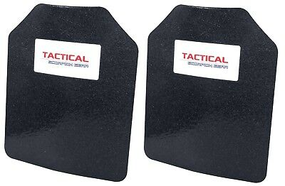 "Pair Curved Level III AR500 Steel Body Armor Two 8"" x 10"" Plates - Spall Coated"