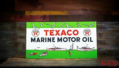 Original 1953 Texaco Marine Motor Oil Porcelain Sign