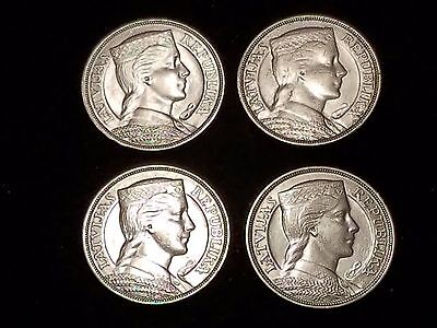1931 Latvia 5 Lati Silver Circulated coin - Lot of 4 (LN314)