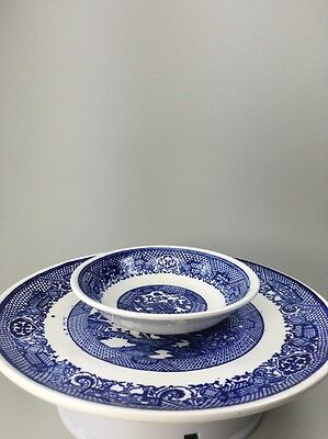 Vintage Japanese Blue and White Plate and Bowl with Birds Trees Fishermen Houses