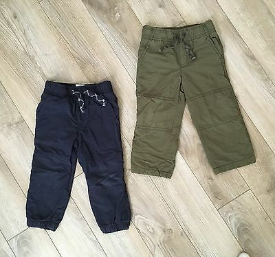 Gymboree Boys Blue and Green Lined Pants Size 18-24 Months (Lot of 2)