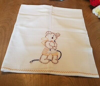 Vintage Linen Tea Hand Towel Embroidered mouse maiden