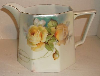 Large Hand Painted JSV Germany Porcelain Lemonade Cider Pitcher YELLOW ROSES