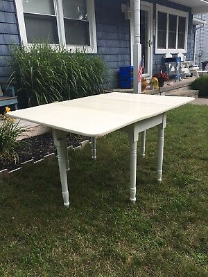Antique White Farmhouse Gateleg Table With Dropleaf w/ Two Mahogany Chairs