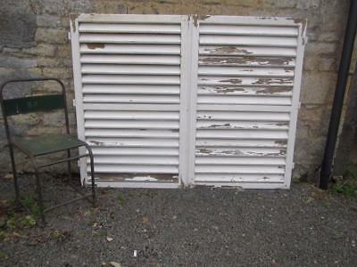 VINTAGE WOODEN SHUTTERS FRENCH LOUVER SHABBY 127x165 cm  WINDOW SHUTTERS