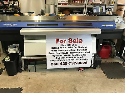 Roland XC-540 printer / cutter with media take up, external heater and blower.