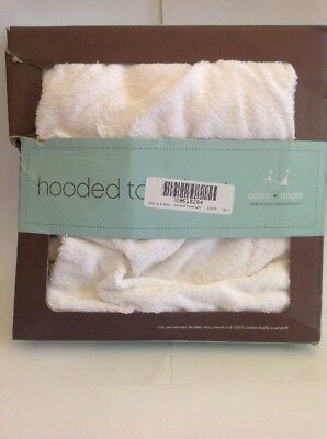 Aden And Anais Hooded Terry Towel And 100% Cotton Muslin Washcloth White