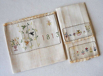 Antique Needlework Sampler Dated 1813 Table Linen With Two Napkins Petit Point