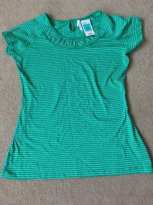 Brand New M&S Summer Top T-shirt Size 14 Stripes Green
