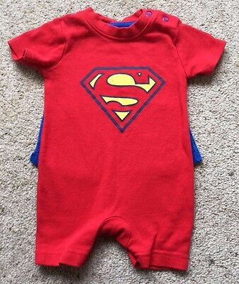 Baby Boys Superman Playsuit With Cape From George Age 0-3 Months  Ex Cond