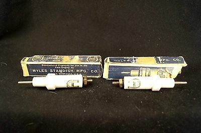 2 1930s NOS Porcelain Myles Standish Ford Engine Spark Plug Core W/ Boxes