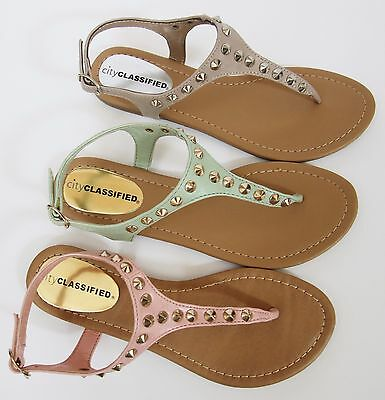 154643a4107c City Classified Diary Women s Spike Studded Thong Slingback Flat Sandals