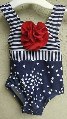 red, white and blue swimsuit size 0-6 months