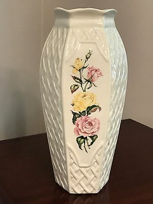 Belleek Basketweave Vase, 9th Mark, 10 1/4""