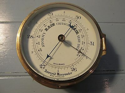 "large Aneroid Barometer solid brass beveled glass 8"" x 3 3/4"" Made in England"