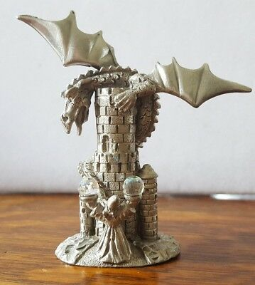 Spoontiques Pewter Dragon Castle Tower Wizard Crystal Ball Figurine Vtg MR872