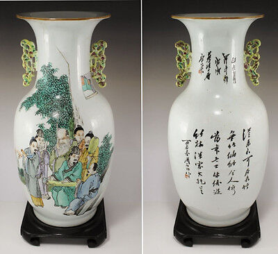 Antique Chinese Famille Rose Baluster Vase with Handles , Calligraphy Signed