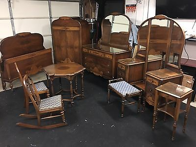 9 Piece Solid Walnut 1920's Art Deco Furniture Set