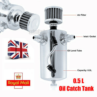 0.5L Machine Oil Catch Tank Can Car Racing Breather Filter Round Barb Alu Alloy
