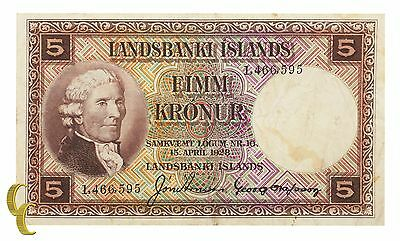 1928 Landbanki Islands Iceland 5 Kronur Note (VF) Very Fine Condition