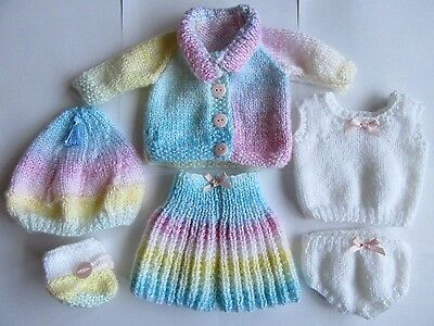 Handknitted Multi Colour Dolls / Premature Baby Clothing Set