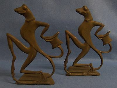 Vintage Deco Figural  Dapper Frog Bookends