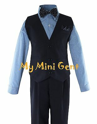 Boys 4PC Solid Navy Vest Suit Set with Blue Checker Dress Shirt and Bow Tie