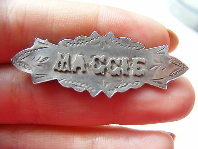 Edwardian HM Sterling Silver Sweetheart Name Brooch Maggie Chester 1911