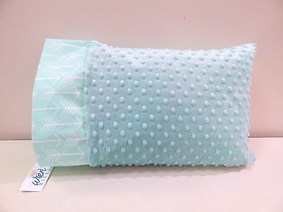 NWT Aqua Arrow Teal Minky Toddler Bed Pillowcase 12x16 Neutral Nap Forest Travel