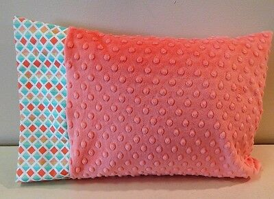 NWT Coral Metallic Gold Teal Peach Minky Toddler Pillowcase 12x16 Girl Bed Nap