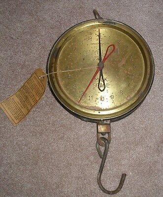 Rare Brass Vintage Chatillon 40lb Milk Scale With Original Tag