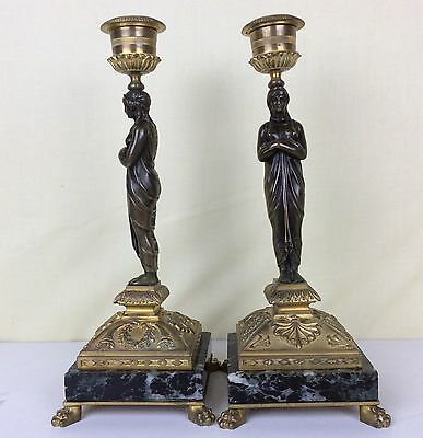 Antique French 19th century bronze patinated and gold gilt PAIR of candlesticks