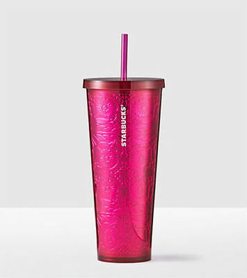 NEW Starbucks 2017 acrylic cold cup tumbler Embossed Magenta Pink 24 oz