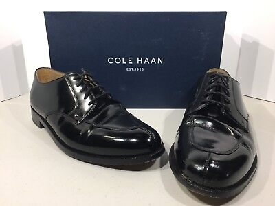 COLE HAAN Men's Calhoun Size 9M Black Patent Lace Up Oxford Dress Shoes X4-388