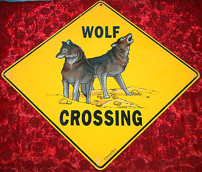 *new Sealed* Yellow Double Wolf Crossing Wall Hanging Sign