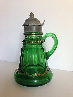 Antique - 1890's- Emerald Green Glass & Gold - Empress Syrup Jug with Pewter Lid