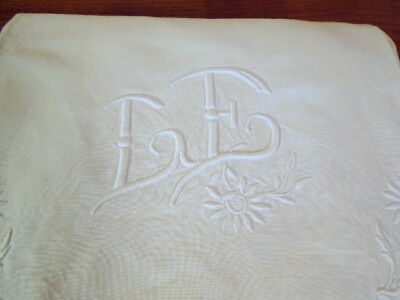 Large Antique Linen French Sheet Embroidered Daisies Mono L E Queen King FS03