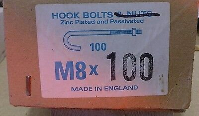 Hook Bolts (M8 x 100mm) - 100 Pieces plus 20 Square Nuts free - (Yellow)