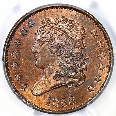 1833 C-1 PCGS MS 63 RB EDS Proof-like Classic Head Half Cent Coin 1/2c