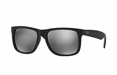 Ray-Ban RB4165 622/6G Justin Sunglasses Black Frame / Grey Mirror Lens 55mm