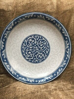 """Stunning Asian Chinese Blue Gray Porcelain Platter Dish Plate 12"""" Pottery"""