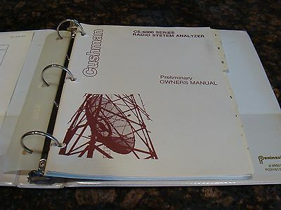 Cushman CE-6000 Series Radio System Analyzer Preliminary Owner's Manual