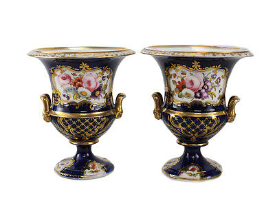 Pair Continental Hand Painted Urns, c1900. Manner of Sevres or Royal Crown Derby