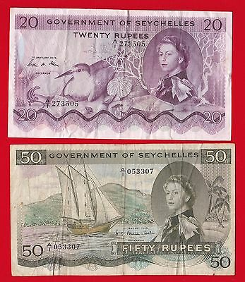 1969-74 Seychelles 20 And 50 Rupees.