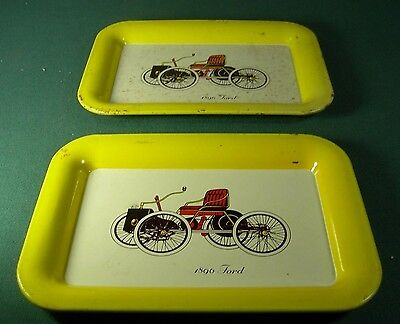 2 Vintage Metal Trays~1896 Ford Automobiles Advertising