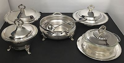 Lot of 5 Vintage LB Poole Rogers Yeoman Silver Plate Footed Covered Serving Bowl