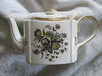 Vintage Arthur Wood Teapot Haddon Flowers With Gold Trim