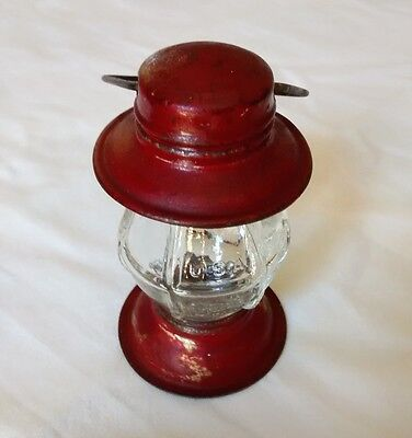 Antique Glass and Tin Lantern Shaped Candy Container