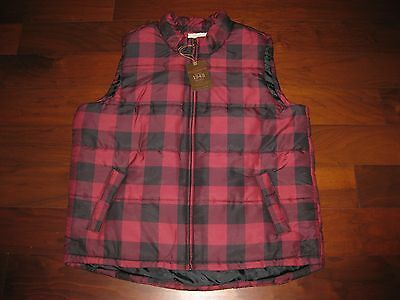 Men's 3XL Insulated Vest Red & Black Buffalo Plaid Zip Front