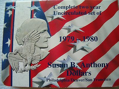 Uncirculated Susan B Anthony Dollars 6 Coin Set 1979 -1980 P,D & S Mint Marks $6